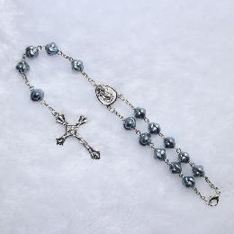 6mm car rosary with cross religious pendant  (CB005)