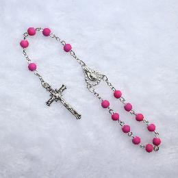 8mm catholic Plastic Pink Beaded car rosary (CB008)