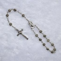 7mm Classic alloy metal rose beads car rosary (CB011)